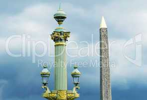 Obelisk in Place de la Concorde against cloudy sky - Paris