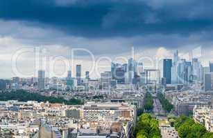 Business district of Paris. La Defense, aerial view on a cloudy