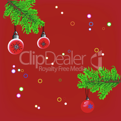 Christmas background with fir branches, toys and confetti
