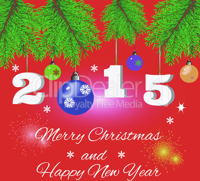 red Christmas background with fir branches, salute and greeting text