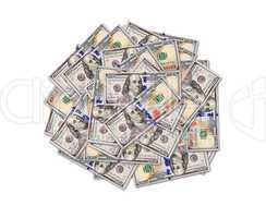 big heap of American dollars isolated
