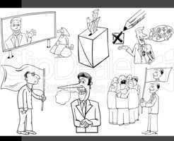 cartoon politics concepts set