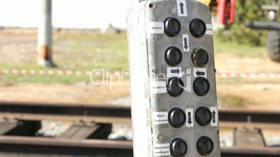 Control panel on railway station.
