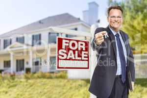 Agent with Keys in Front of Sale Sign and House