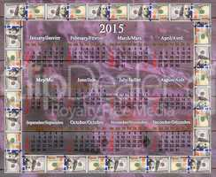 calendar for 2015 in the dollars' frame on the lilac fabric