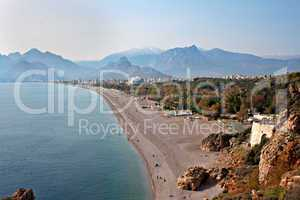 View of Antalya beach Turkey