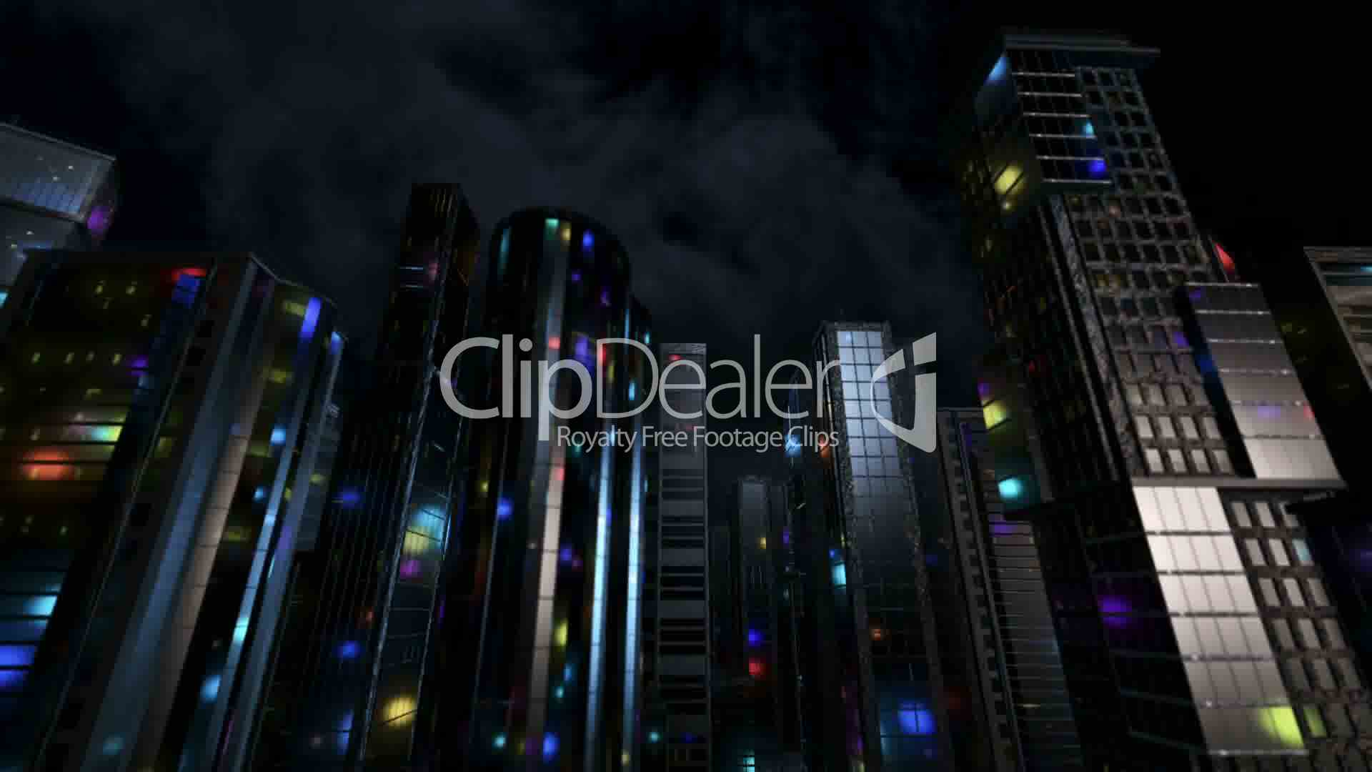 3D Computer generated city at night: Royalty-free video and stock