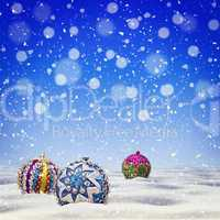 Vintage Christmas abstract blue background