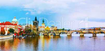 The Old Town panorama with Charles bridge in Prague
