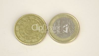 Two Portugal Euro coins with the front and back details