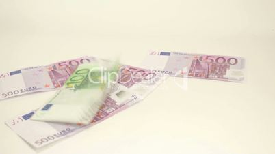 Euro bills thrown on the table