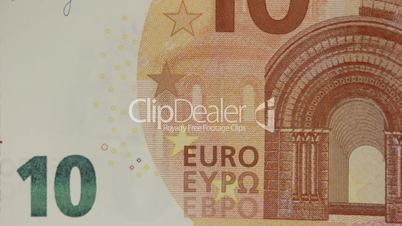 10 Euro bill being zoomed out showing details