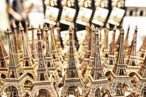 PARIS - MAY 21, 2014: Miniatures of Effel Towers. The tower is t