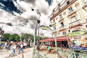 PARIS - MAY 21, 2014: Tourists walk in Quartier Latin. More than