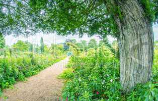 GIVERNY, FRANCE - JULY 9, 2014: Tourists visit famous Monet Gard