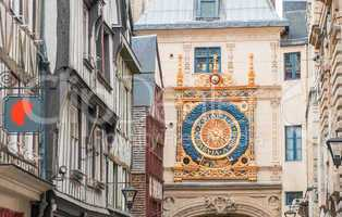 Famous old clock of Rouen, Normandy, France