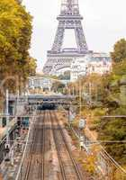 Railroad to Eiffel Tower, Paris