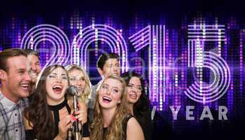 Composite image of friends singing karaoke
