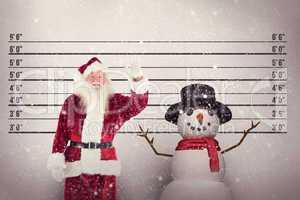 Composite image of jolly santa waving at camera