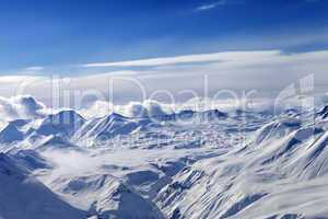 Snow plateau and sky with clouds