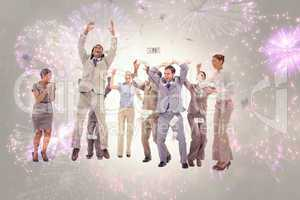 Composite image of very happy people with money falling from the