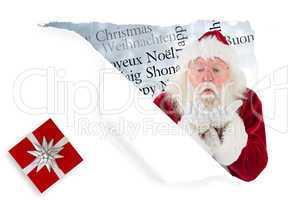 Composite image of santa claus blows something away