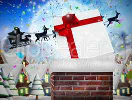 Composite image of santa flying his sleigh behind chimney