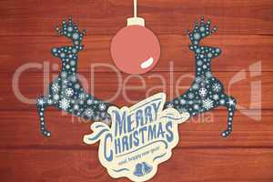 Composite image of  merry christmas message with a ball