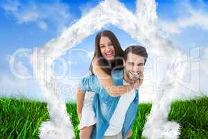 Composite image of happy hipster giving his girlfriend a piggy b