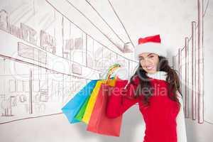 Composite image of festive brunette in winter wear holding shopp