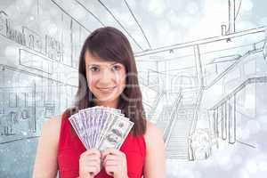 Composite image of young woman holding her cash