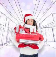Composite image of stressed brunette in santa hat holding pile o