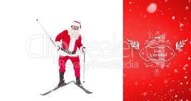 Composite image of portrait of happy santa claus skiing