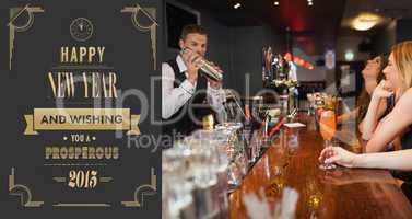 Composite image of handsome bartender making cocktails for beaut