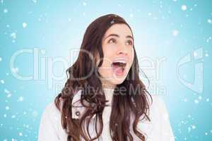 Composite image of beauty brown hair in white coat screaming