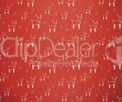 Red retro reindeer pattern wallpaper