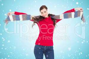 Composite image of cheerful brunette holding scarf and spread he