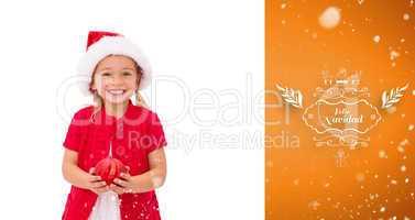 Composite image of cute little girl wearing santa hat holding ba
