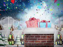 Composite image of chimney filled with gift