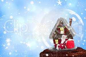 Composite image of santa sitting in snow globe