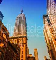 Skyline of New York from street level