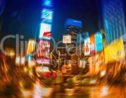 Evening life at Times Square, Manhattan, New York, in motion blu