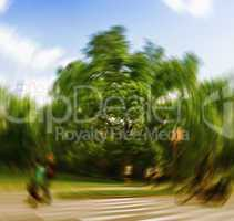 Blurred picture of fast action in Central Park, Manhattan
