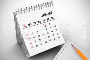 Composite image of january on calendar