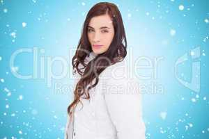 Composite image of beauty brown hair in white coat posing