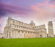 Pisa, Cathedral and Leaning Tower in Square of Miracles at sunse