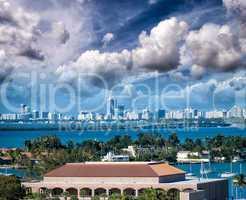 Skyline of Miami at sunset, Florida, USA