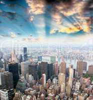 Beautiful sunset sky over Midtown Manhattan