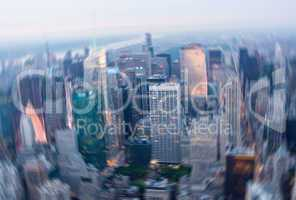 Motion blurred picture of Midtown Manhattan from high vantage po
