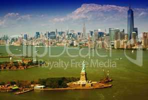 Aerial view of Statue of Liberty and Manhattan, New York City